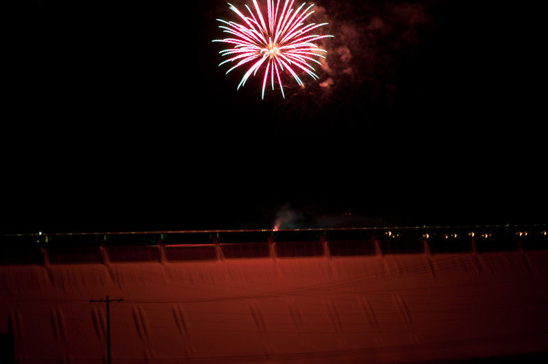 Fireworks lighting up the Coolie Dam 'screen' on which the light show was projected.