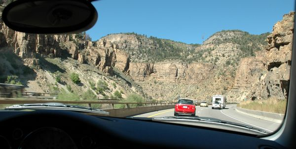 Back on the road, after a little excitement, as we enter the east end of the beautiful Glenwood Canyon.