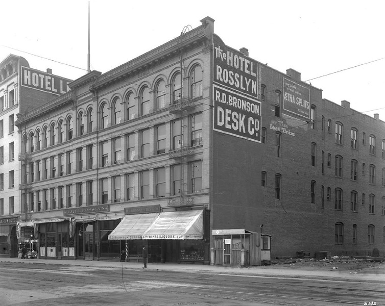 Exterior view of the Rosslyn Hotel on Main Street, looking south from Winston Street, 1905