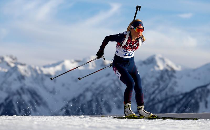 . Norway\'s Tiril Eckhoff competes during the women\'s biathlon 15k individual race, at the 2014 Winter Olympics, Friday, Feb. 14, 2014, in Krasnaya Polyana, Russia. (AP Photo/Felipe Dana)