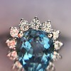 3.30ctw Aquamarine and Diamond Cluster Ring 31