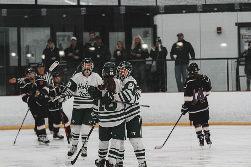 Holy Family Varsity Girls Hockey vs. Waconia, 1/9/20: Maddie Morgan '22 (16) & Olivia Paidosh '23 (22)