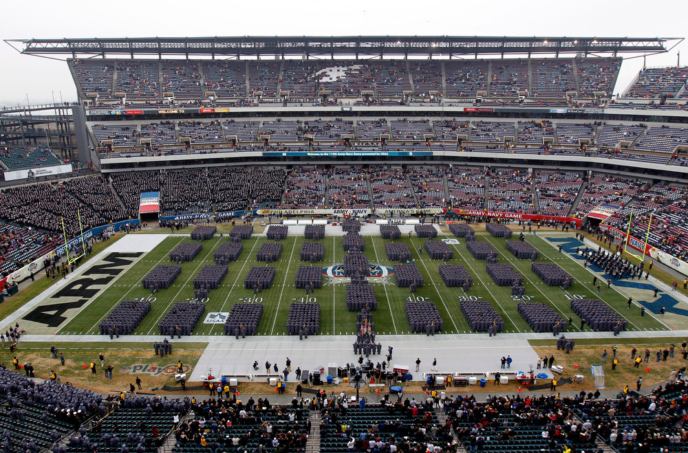 . Army Cadets march onto the filed before an NCAA college football game between the Army and the Navy Saturday, Dec. 8, 2012, in Philadelphia. (AP Photo/Matt Rourke)