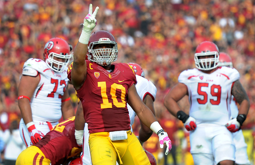 . Southern California linebacker Hayes Pullard (10) reacts after Utah misses a field goal attempt during the second half of an NCAA college football game in the Los Angeles Memorial Coliseum in Los Angeles, on Saturday, Oct. 26, 2013. Southern California won 19-3.   (Photo by Keith Birmingham/Pasadena Star-News)