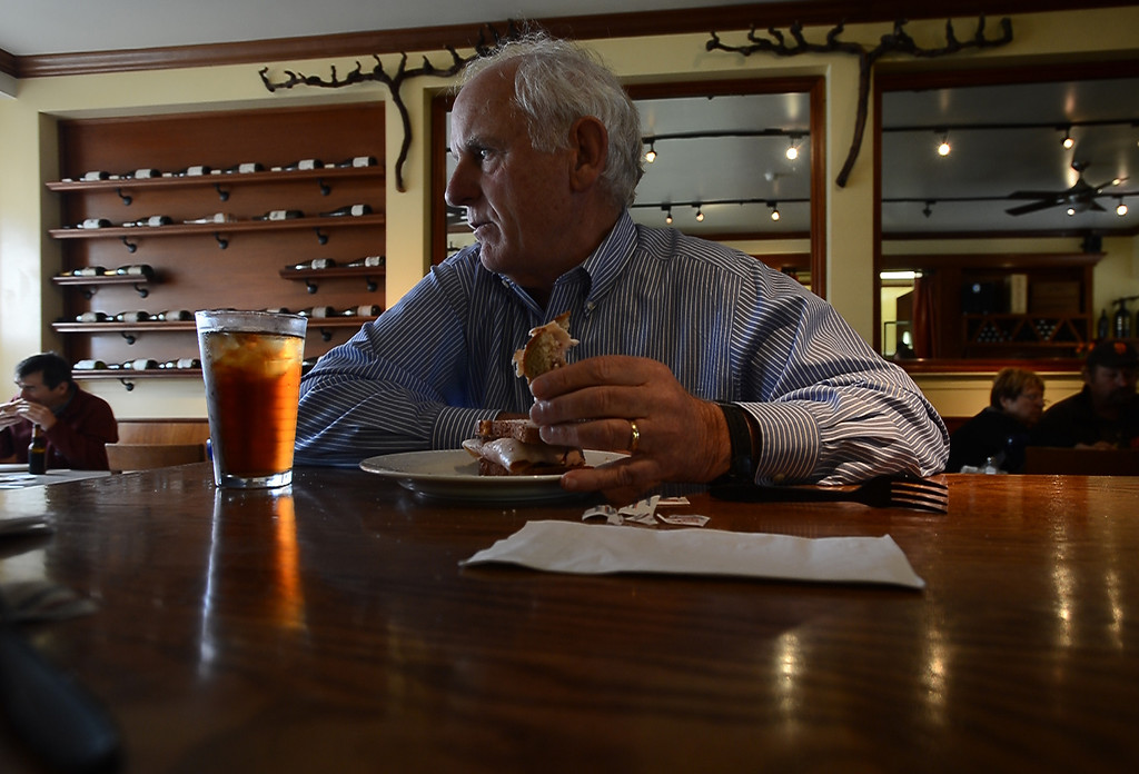 . Richmond city council member Tom Butt sits down for lunch at Little Louie\'s in the Point Richmond area of Richmond, Calif. on Thursday, Jan. 24, 2013. (Kristopher Skinner/Staff)