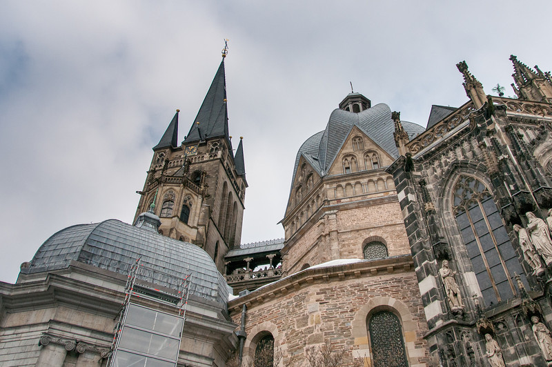Looking up the exterior of Aachen Cathedral in Germany
