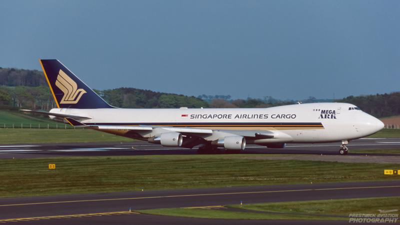 9V-SFH. Boeing 747-412F/(SCD). Singapore Airlines Cargo. Prestwick. April. 2000.