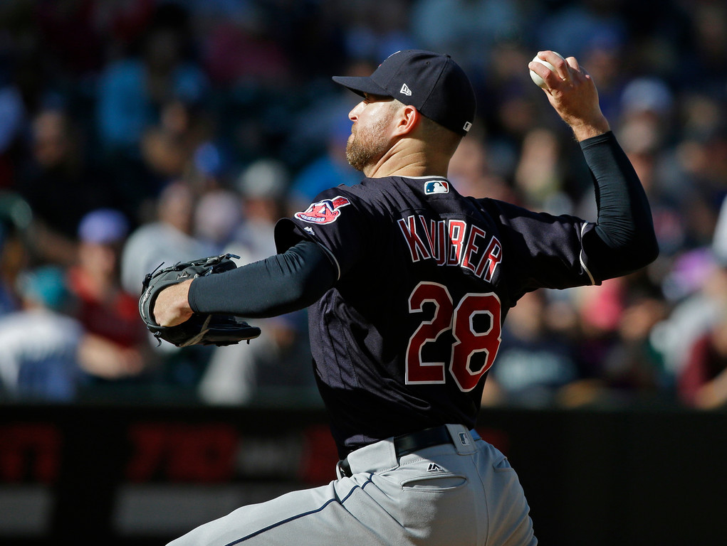 . Cleveland Indians starting pitcher Corey Kluber throws against the Seattle Mariners during a baseball game, Sunday, Sept. 24, 2017, in Seattle. (AP Photo/Ted S. Warren)