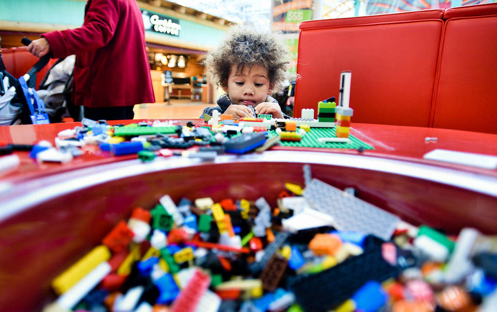 """. Two-year-old Cadden Kostrzewski of Eagan plays with Legos at the Lego store. \""""He\'s into Star Wars \'cause his dad is really in to Star Wars,\"""" said Cadden\'s mother. (Pioneer Press: Ben Garvin)"""