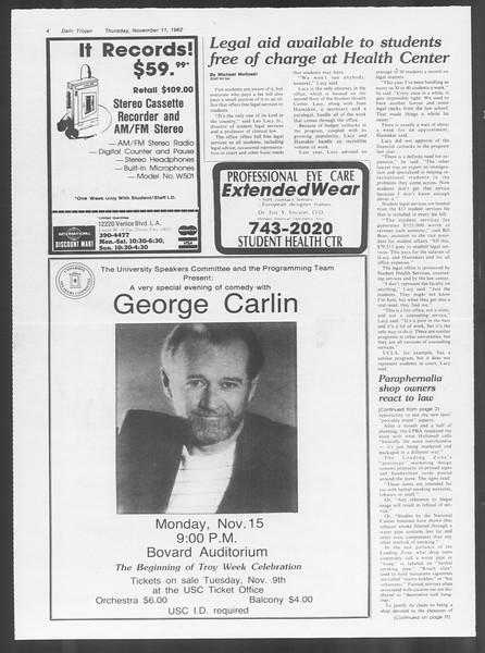 Daily Trojan, Vol. 92, No. 47, November 11, 1982