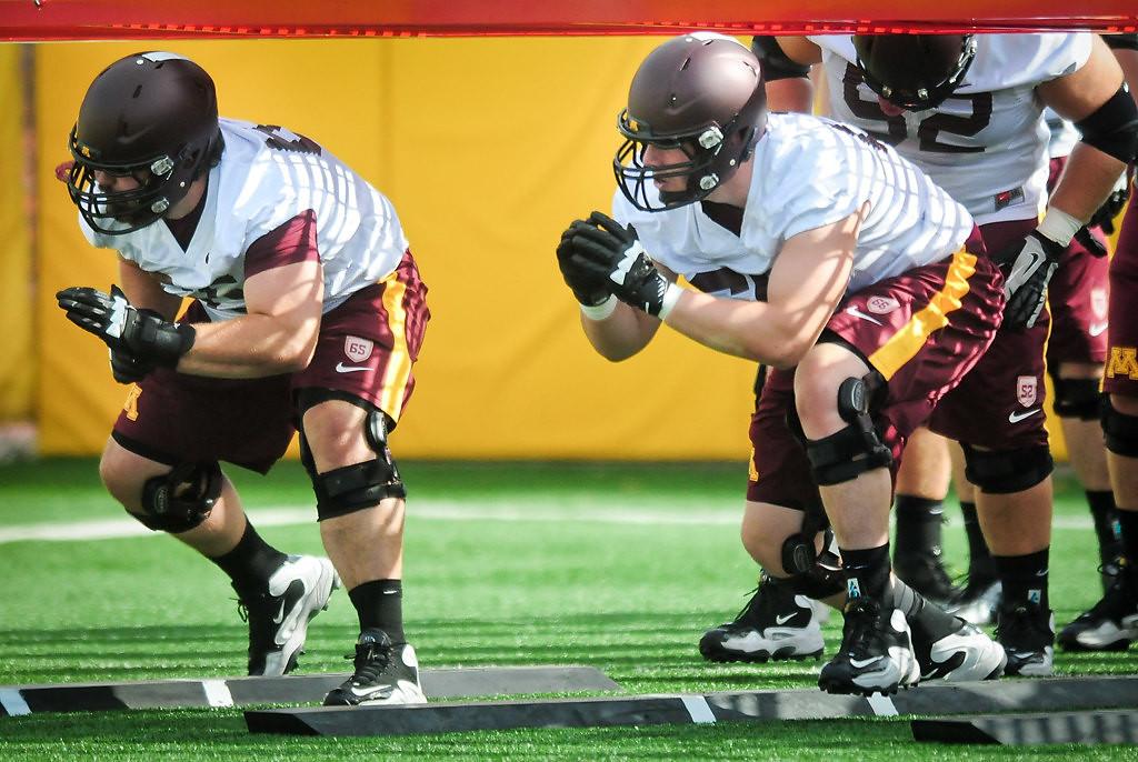 . Offensive linemen Josh Campion, left, and Luke McAvoy. (Pioneer Press: Ben Garvin)