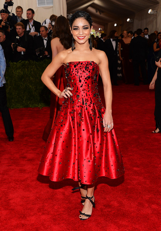 ". Vanessa Hudgens arrives at The Metropolitan Museum of Art\'s Costume Institute benefit gala celebrating ""China: Through the Looking Glass\"" on Monday, May 4, 2015, in New York. (Photo by Evan Agostini/Invision/AP)"