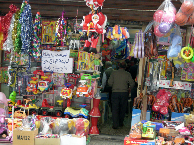a shop selling Christmas items in Sidon