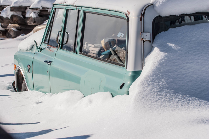 Jackson Hole, WY road trip. Buried car at Pete's ranch