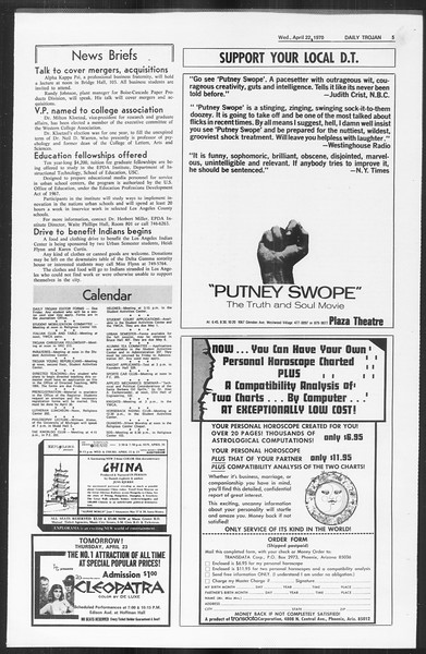 Daily Trojan, Vol. 61, No. 110, April 22, 1970
