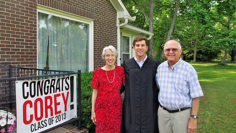 May 2013 - Corey Bradley Graduation Party - Corey with Marian and Reagan