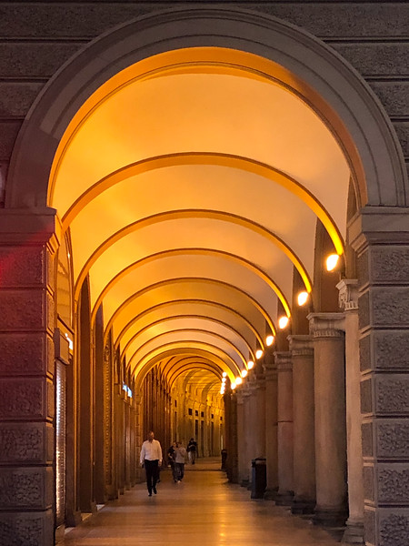 Bologna porticos at night