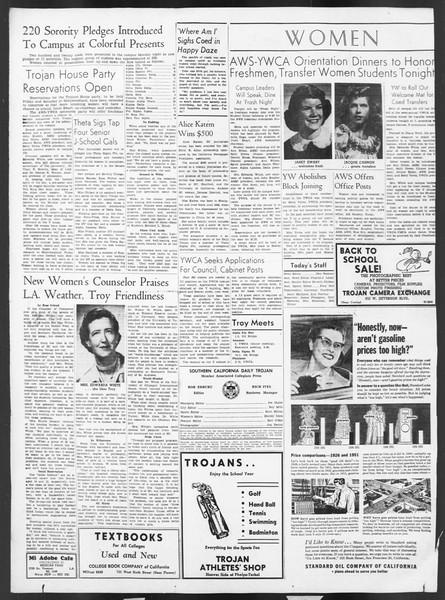 Daily Trojan, Vol. 43, No. 3, September 19, 1951