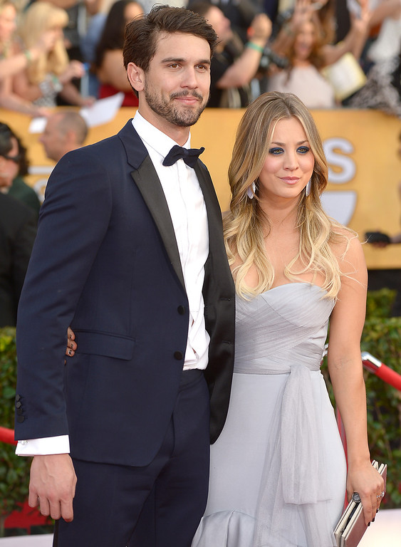 . Ryan Sweeting and Kaley Cuoco arrives at the 20th Annual Screen Actors Guild Awards  at the Shrine Auditorium in Los Angeles, California on Saturday January 18, 2014 (Photo by Michael Owen Baker / Los Angeles Daily News)