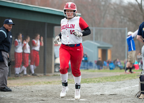 04/12/19 Wesley Bunnell | Staff Berlin softball defeated Platt Tech in an afternoon home game at Sage Park on Friday. Kylie Lanteri (10) scores a run.