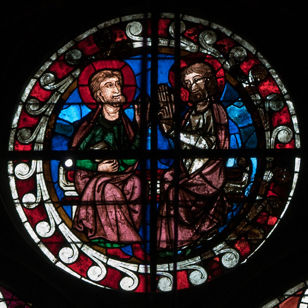 Bourges Cathedral Clerestory Rondel, Two Saints
