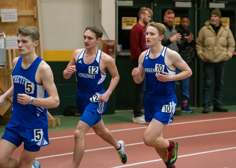 Sophomore Chris Therrien (tag #12) and senior Kai Williams (tag #10)at the start of the 3000. Kai finished in 8th place with a time of 10:59.73. Chris finished in 9th place with a time of 11:07.35. Vermont Division II Indoor Track State Championships - UVM Gutterson Field House - 2/16/2020