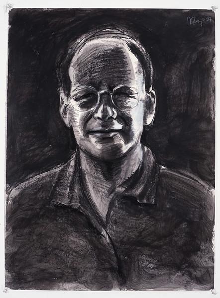 Portrait study - Tom S (dark); charcoal, 22 x 30 in, 1998