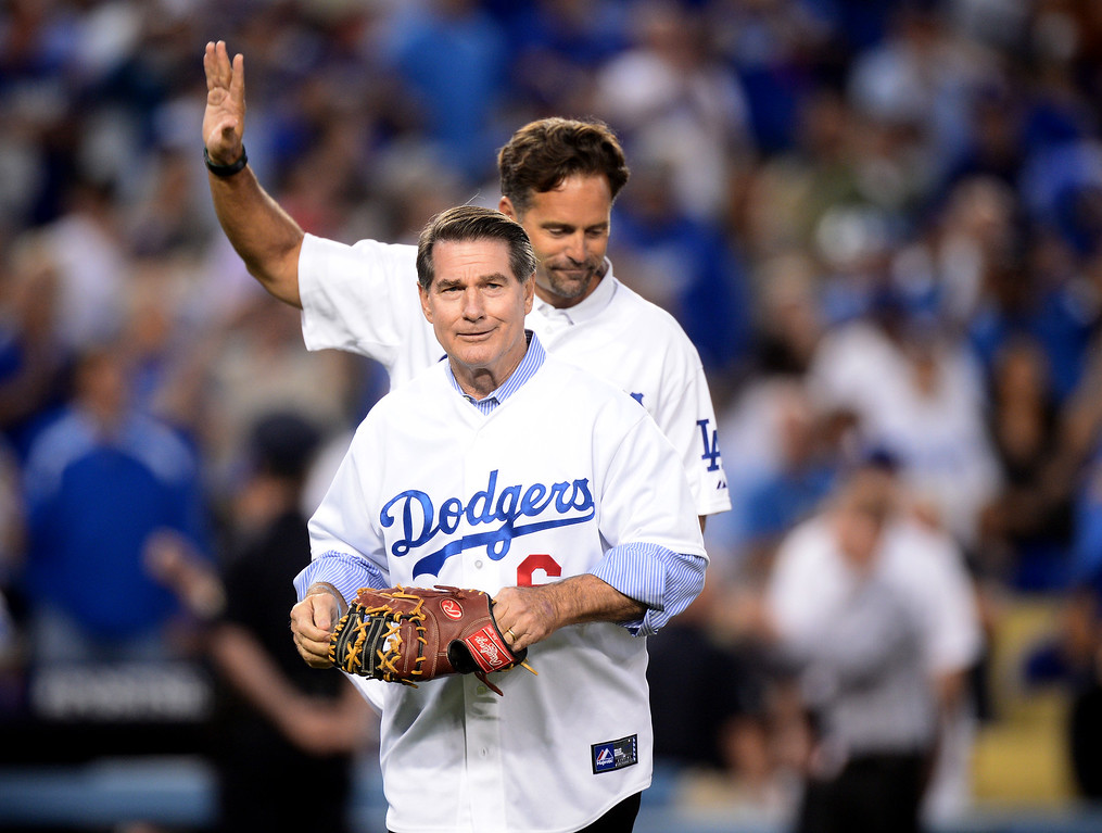 . Former Los Angeles Dodger Steve Garvey throws out the first pitch before the Dodgers play the Atlanta Braves during game 4 of the NLDS at Dodger Stadium Monday, October 7, 2013. (Photo by Sarah Reingewirtz/Los Angeles Daily News)