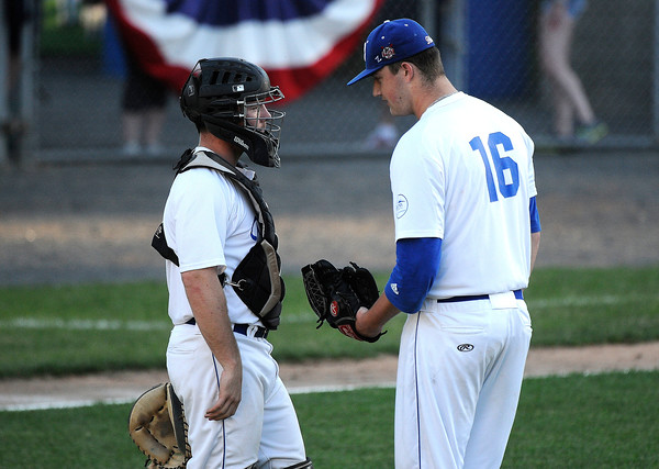 6/20/2017 Mike Orazzi | Staff Bristol Blues' Jeff Shanfeldt (54) and Tyler Kovalewich (16) at Muzzy Field Tuesday night.