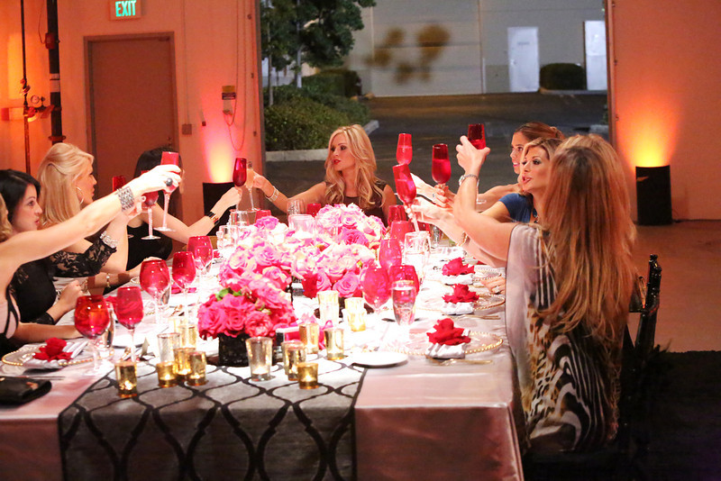 """. REAL HOUSEWIVES OF ORANGE COUNTY -- \""""All Housewives Party At Tamra\'s\"""" -- Pictured: (l-r) Gretchen Rossi, Heather Dubrow, Tamra Barney, Lydia McLaughlin, Alexis Bellino, Vicki Gunvalson -- (Photo by: Evans Vestal Ward/Bravo)"""