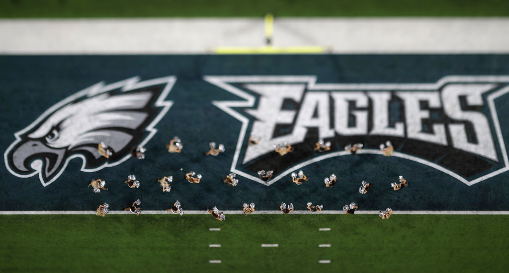 . In this picture made with a specialty lens Philadelphia Eagles cheerleaders perform during the first half of the NFL Super Bowl 52 football game against the New England Patriots, Sunday, Feb. 4, 2018, in Minneapolis. (AP Photo/Matt Slocum)