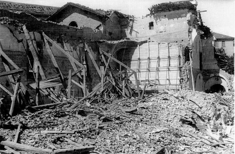 The Last Supper Wall during World War II - following bombing