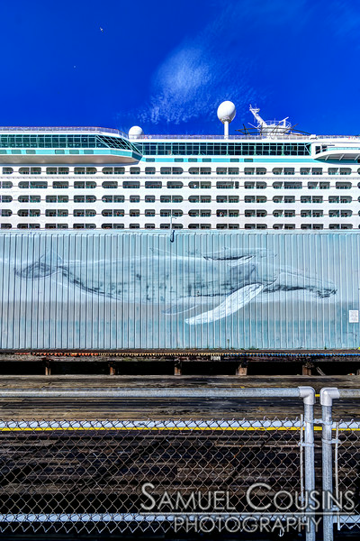 Portland's Whaling Wall and the Explorer of the Seas.