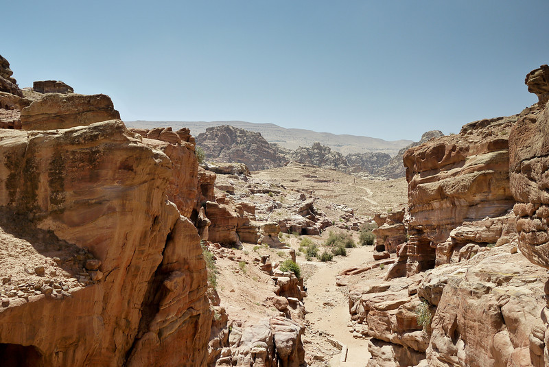 Hiking up to the Monastery in Petra, Jordan.