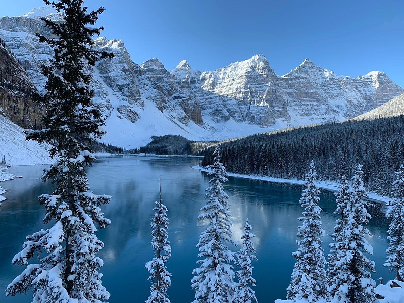Moraine Lake with snow in Banff National Park, Alberta