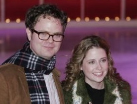 jenna fischer rainn wilson rockefeller center christmas 2005