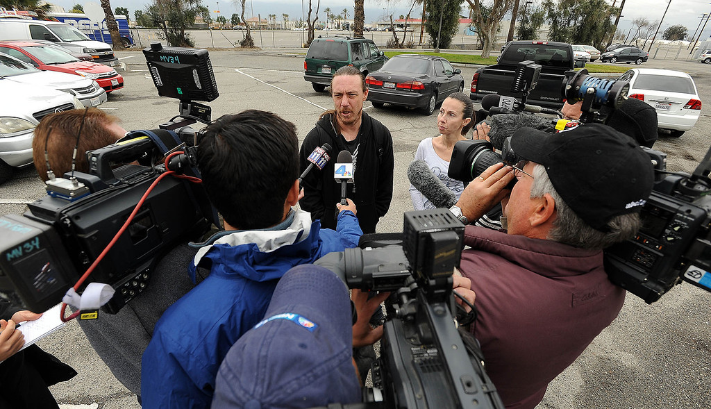 . Dave Thomas, 36, of San Bernardino, speaks to media prior to being reunited with the dog at the City Animal Shelter in San Bernardino February 19, 2013. GABRIEL LUIS ACOSTA/STAFF PHOTOGRAPER.