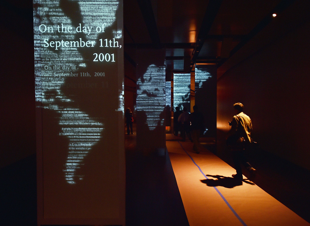. Audio and visual panels seen during a press preview of the National September 11 Memorial Museum at the World Trade Center site May 14, 2014 in New York. AFP PHOTO/Stan HONDA/AFP/Getty Images