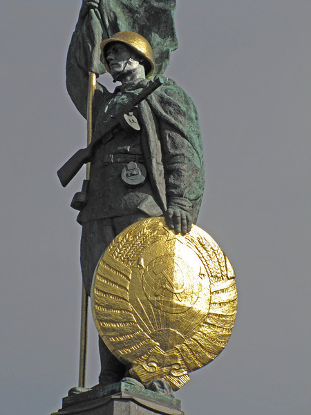 24-Liberation Monument detail. Hammer and sickle at center of the shield.