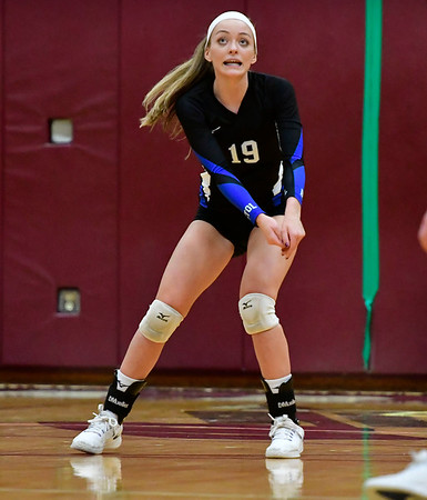 11/14/2018 Mike Orazzi   Staff Bristol Eastern's Amber Blais (19)during the Class L Semifinal State Girls Volleyball Tournament with Woodstock Academy held at Windsor High School Wednesday night.