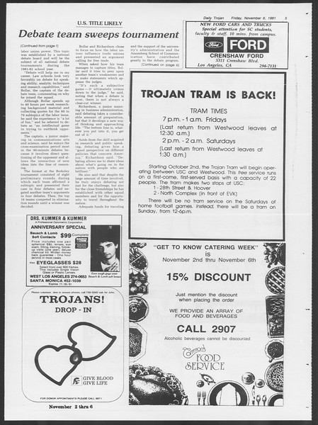 Daily Trojan, Vol. 91, No. 47, November 06, 1981