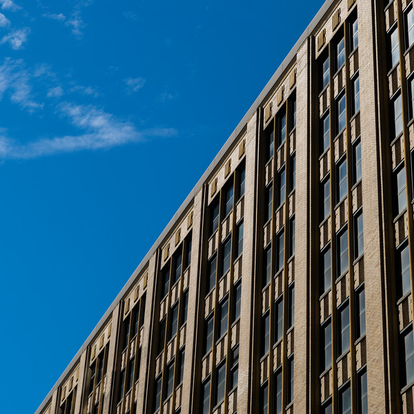 Low angle view of office building against sky, Minneapolis, Hennepin County, Minnesota, USA