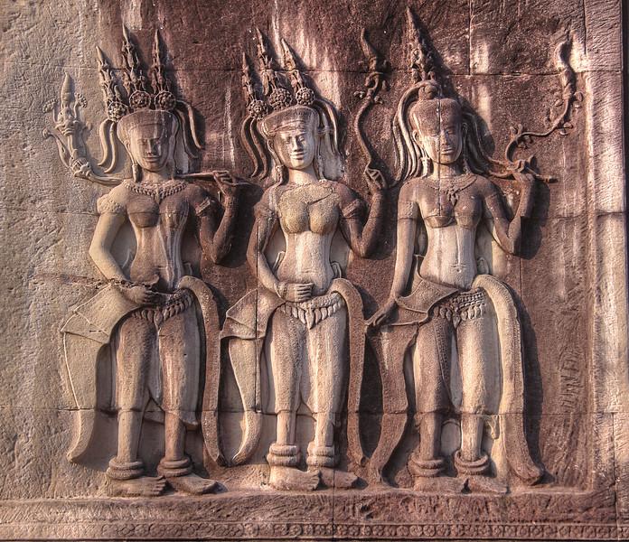 Apsara bas-reliefs at Angkor Wat