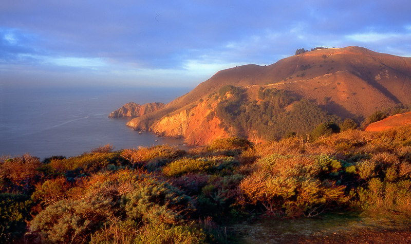 Looking out on the Pacific and the Marin Headlands, right after dawn.