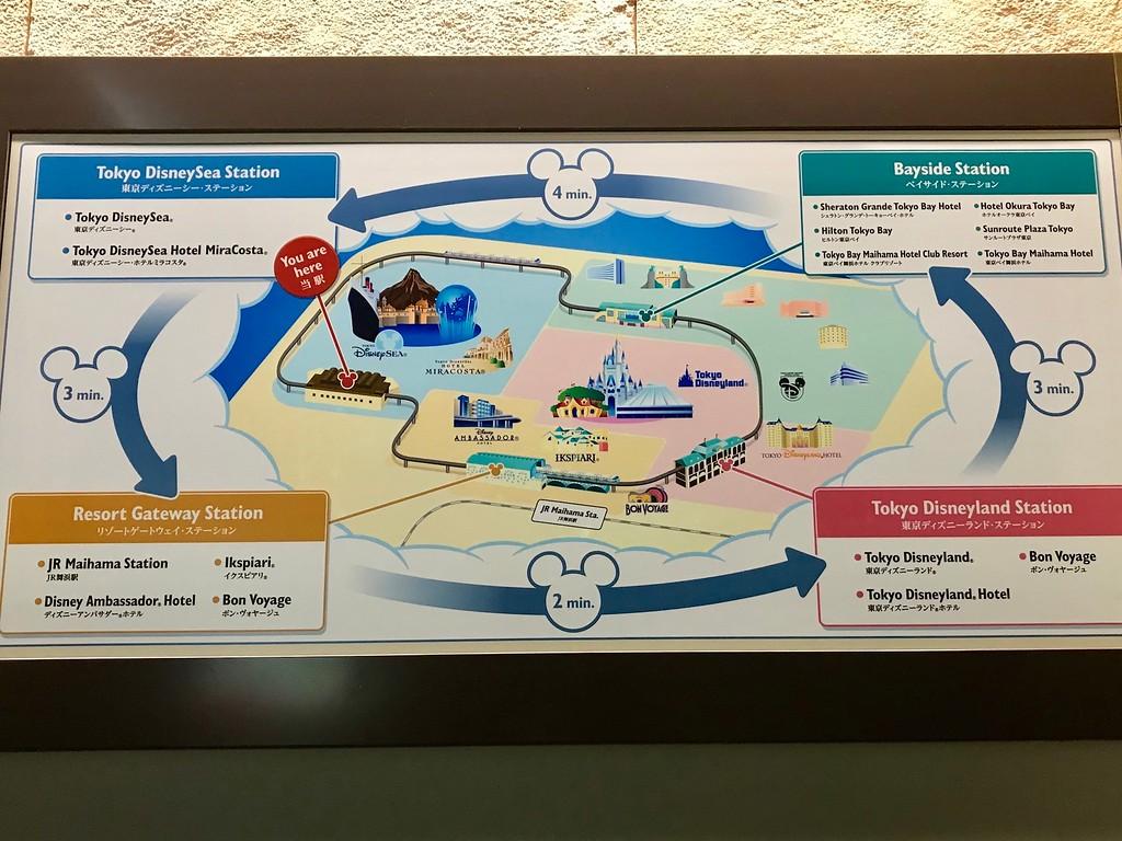 The Disneyland Resort Monorail map.