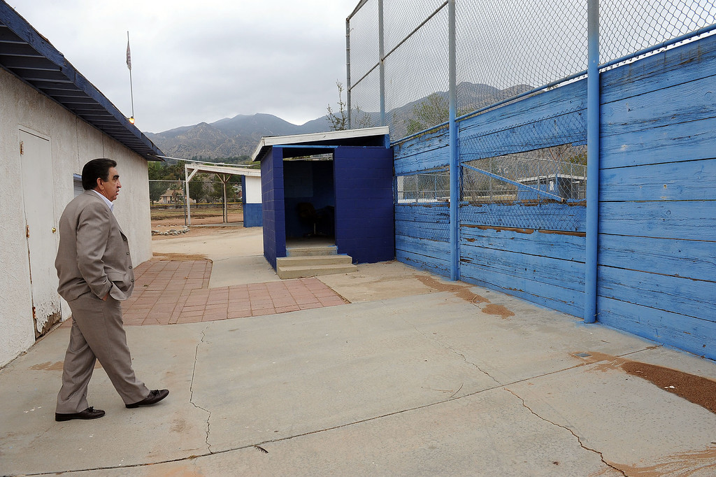 . Joe Kirk makes his way around the run-down the Sylmar Independent Baseball League complex in Sylmar, CA February 6, 2014.  Kirk is part of a group of San Fernando Valley homeowners who are suing the operators of the Sylmar Independent Baseball League, alleging that the non profit group mismanaged the league for years.(Andy Holzman/Los Angeles Daily News)