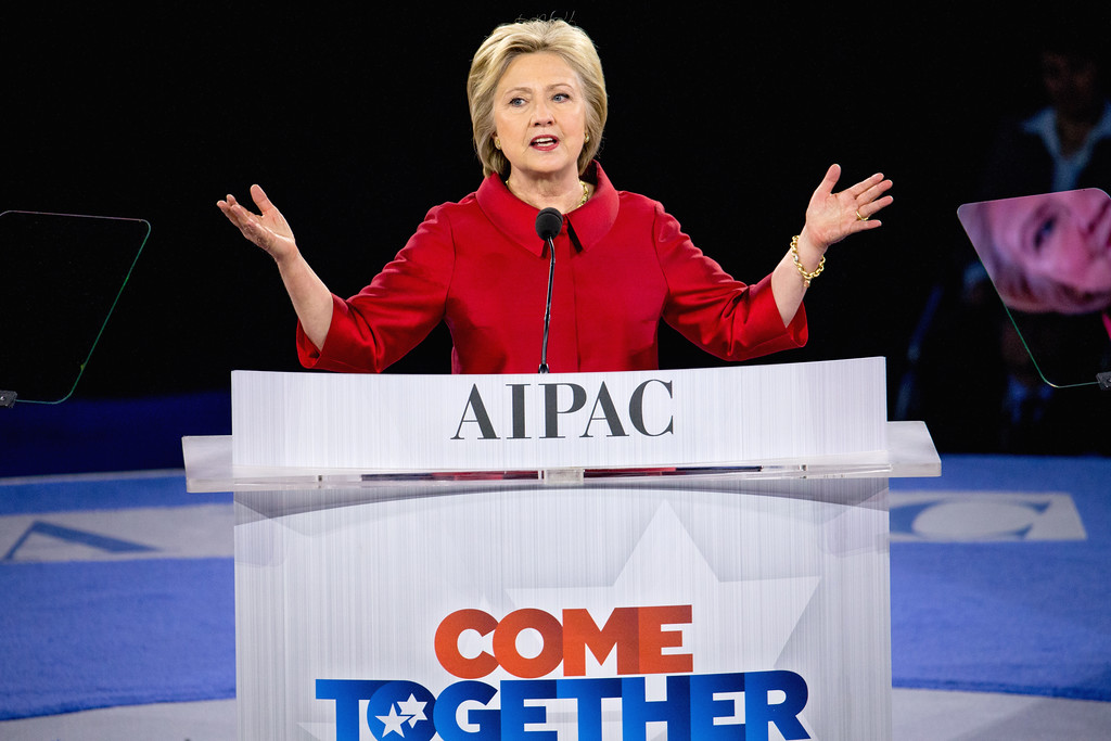 . Democratic presidential candidate Hillary Clinton speaks at the 2016 American Israel Public Affairs Committee (AIPAC) Policy Conference, March 21, 2016, at the Verizon Center in Washington.  (AP Photo/Andrew Harnik)