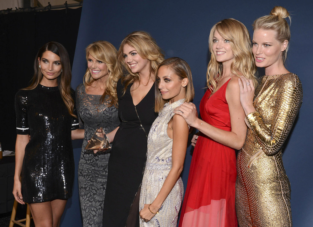 . Models Lily Aldridge and Christie Brinkley, winner of Model of the Year Kate Upton, host Nicole Richie, model Lindsay Ellingson and a guest attend the 10th annual Style Awards during Mercedes-Benz Fashion Week Spring 2014 at Lincoln Center on September 4, 2013 in New York City.    (Photo by Vivien Killilea/Getty Images)