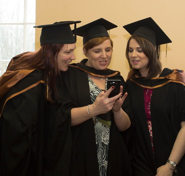 28/10/2015 Image Free to Use. Conferring at Waterford Institute of Technology. l-r; Tanya Frost O'Grady from Tramore, Brídín Moloney from New Ross and Philomena Furlong from Waterford  Postgraduate Diploma in Arts in Teaching in Further Education.Photo; Mary Browne