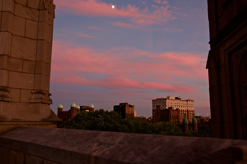 Moon at sunset, New Haven (Background: Phelps Gate towers, Omni Hotel, Taft Hotel, Bingham Hall)